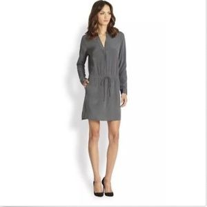 Vince Silk Drawstring Tunic Dress With Pockets